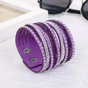 Jewelry - 🌿 • P u r p l e Crystal Vegan Leather Bracelet